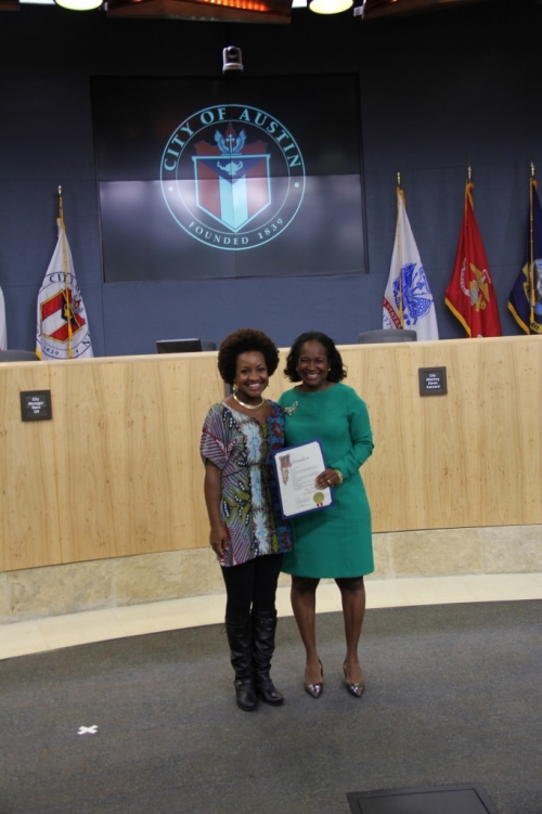 Akina-Adderley-and-Sheryl-Cole-With-The-ProclamationAkina-Adderley-Austin-City-Council-Proclamation-682x1024